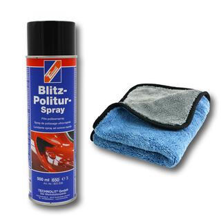 Technolit Blitz Politur Spray 1 x 500 ml blaues Mikrofasertuch